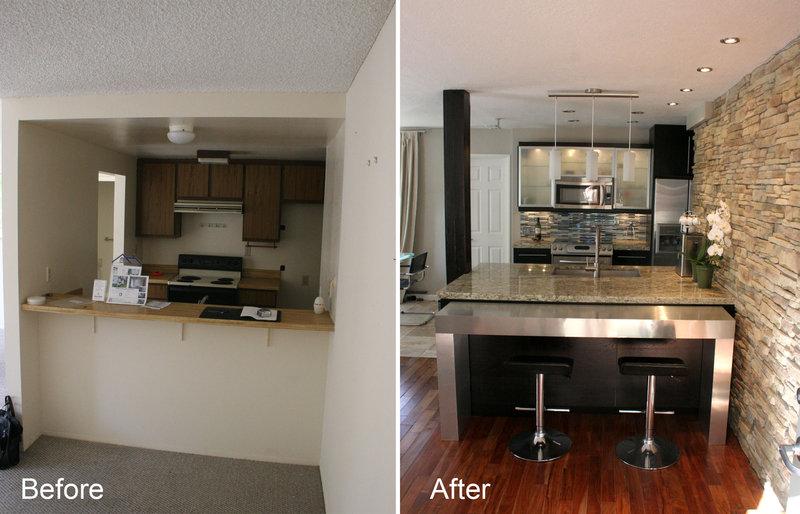 Gallery Modern Kitchen Interior Living Room Dark Cabinets Design1